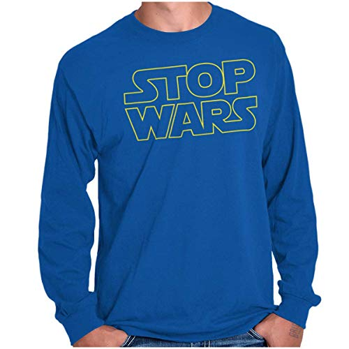 Brisco Brands Stop Space Logo Funny Peace Protest Parody Long Sleeve T Shirt