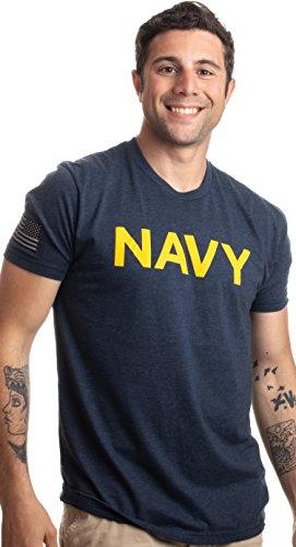 Ann Arbor T-shirt Co. Navy Chest Print & U.S. Military Sleeve Flag   Naval Veteran Sailor Style Shirt-(Navy, XL)