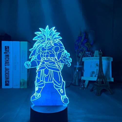 3d Illusionslampe Dragon Ball Broly Figur Nachtlicht für Kinder Schlafzimmer Dekor Bunt angetriebenes LED Nachtlicht Anime Geschenk