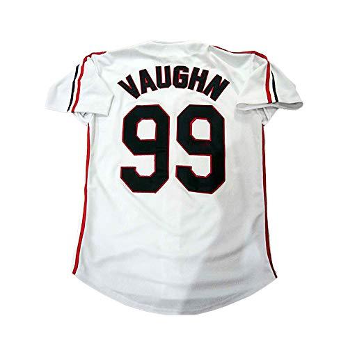 borizcustoms Ricky Wild Thing Vaughn Cleveland Stitch Patch Baseball Jersey 2XS- 6XL Size (58) White