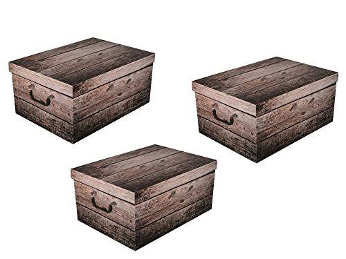 3 x XXL Dekokarton SHABBY WOOD in schöner, grauer Holzoptik - Tolles Motiv, passt in jeden Haushalt! Edel und hochwertig! Mit Griffen zum Tragen und XXL Volumen!