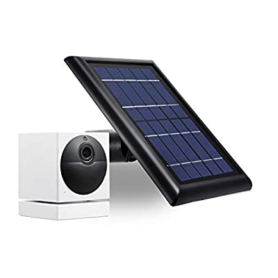 [Updated Version] Wasserstein Solar Panel Compatible with Wyze Cam Outdoor - Power Your Surveillance Camera continuously with 2W 5V Charging (1-Pack, Black) (Wyze Cam Outdoor NOT Included)