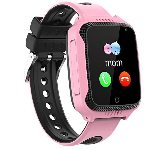 Niños Smartwatch Phone,Reloj Teléfono con GPS LBS Tracker Chat de voz SOS Cámara Despertador Podómetro Linterna para Mirar Regalos Niño Niña Compatible con iOS Android Smart Watch Phone,Rosa