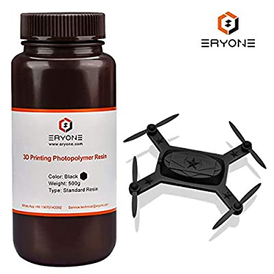 ERYONE 405nm UV Resin for DLP LCD 3D Printer Photopolymer Translucent, Ultralow Odor High Precision Can Mix, 0.5 kg Black