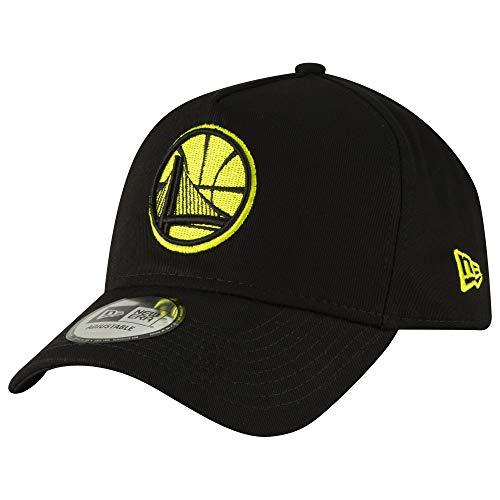 New Era NBA Golden State Warriors 9FORTY A Frame Snapack Hat, Adjustable Black Logo Cap