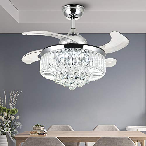 NOXARTE Ceiling Fan with Light LED Dimmable Modern Crystal Chandelier Lighting Reversible Invisible Blades Polished Chrome 36 Inch