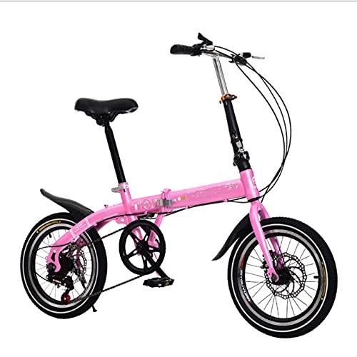 Bicicleta de la ciudad de las mujeres plegables, bicicleta ciudad portátil transmisión de 6 velocidades, marco acero de alto carbono, breakes doble disco Bicicletas para niños, Unisex, 16 ',Rosado