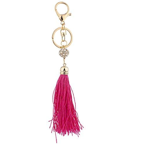 Lux Accessories - Llavero de Piel con Borla, Color Blanco y Dorado 18 cm Rosa