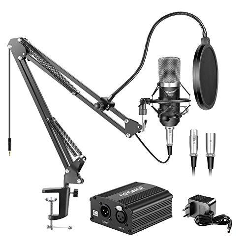Neewer NW-700 Micrófono de Condensador & Soporte de Brazo de Tijera Brazo Boom con Cable XLR y Abrazadera de Montaje & NW-3 Filtro Pop & 48V Fuente de Alimentación Phantom con Adaptador