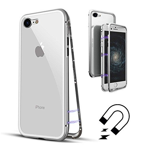Custodia iPhone 6 Plus / iPhone 6s Plus, Custodia in Metallo Ultra Sottile Slim ad Adsorbimento Magnetica con Cover Posteriore Rigida in Vetro Temperato Flip Cover Caso per iPhone 6 Plus / 6s Plus