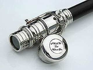 Walking Wood Cane-Brass Telescope Walking Stick- Hidden Spy Telescope Handle