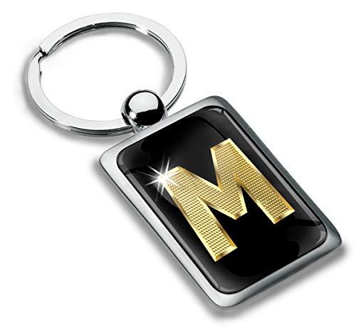 Biomar Labs® Porte-clé Lettres A-Z Initiales Personnalisable de L'alphabet Alphabet Accessoires Homme Femme Cadeau Or Lettre M