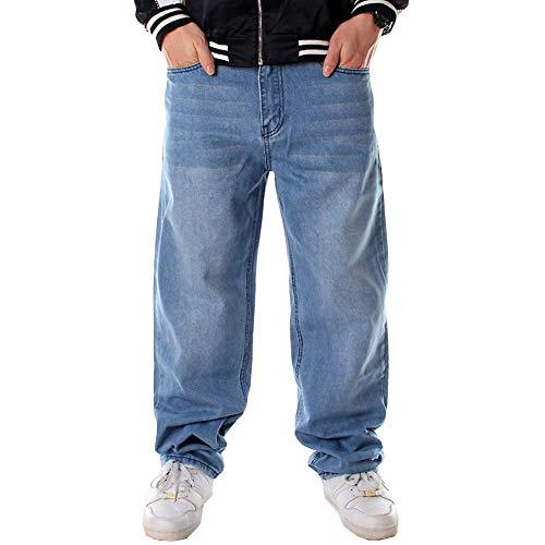Ruiatoo Men's Jeans Fashion Hip Hop Baggy Pants Comfort Denim Skateboard Jogging Loose Fit Jeans Blue 40