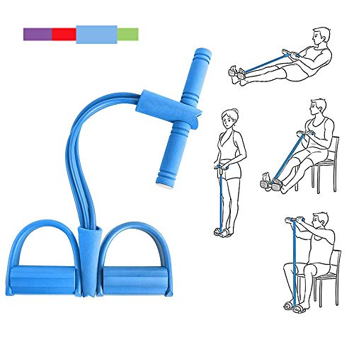 Pedal Resistance Band,4 Tube Strap Elastic Pull Rope Yoga, Multifunctional Fitness Equipment for Leg Puller/ Sit-ups /Arm Stretch/ Abdomen Expander (Blue)