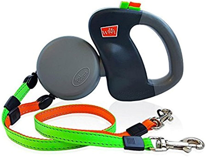 Dual Doggie. Retractable pet leash   lead for two dogs  Flex Line leash  Zero tangling