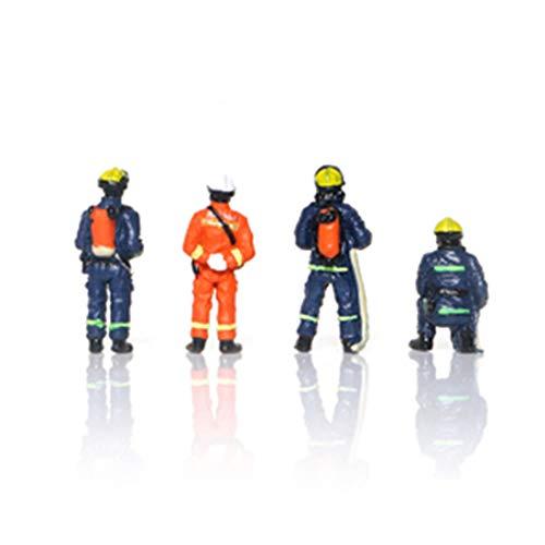 PARIO 4St. 1: 64 Minifiguren Feuerwehrmann Eisenbahnzubehör Menschen Modellbau Figuren Spur für Modelleisenbahn und Fotogafieren
