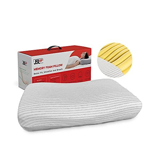 JSLER Qualität Memory Foam Kissen Orthopädisches Nackenstützkissen für Rücken und Seitenschläfer ergonomisches Schlafkissen Gedächtnis-Schaumkissen nackenkissen für schnarch, Röhrendesign Kopfkissen