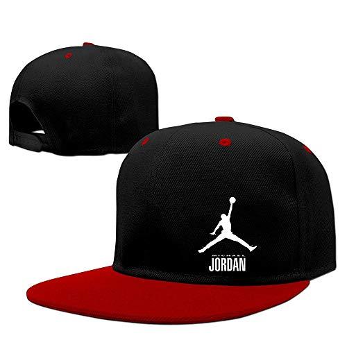 LIU888888 Michael Jordan Unisex Cotton Adjustable Snapback Flatbrim Cap One Size Red,Sombreros y Gorras