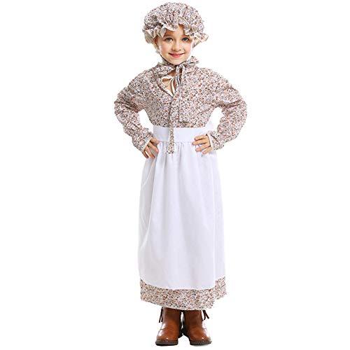 Vrouwen Kid Maid Party Kostuum Verhaalboek Sprookje Europese Pastorale Stijl Jurk Khaki S-XXL