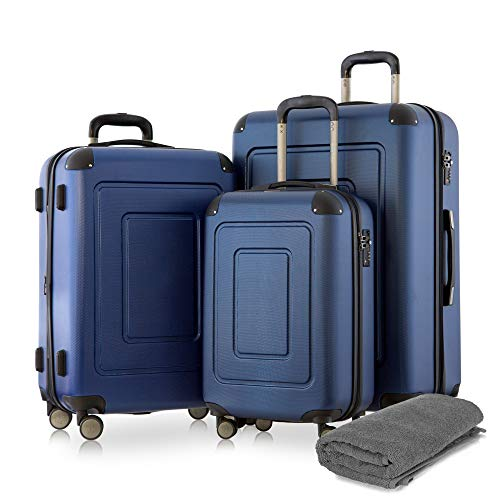 Happy Trolley - 3er Koffer-Set Trolley-Set Rollkoffer Hartschalen-Koffer Reisekoffer Lugano sehr leicht, TSA, (S, M & XL), Dunkelblau +Badehandtuch