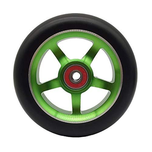 Ruedas De Scooter 2 unids aleación de aluminio 100 / 110mm truco scooter ruedas con rodamiento kick scooters scooter partes ruedas reemplazos accesorios Ruedas Scooter 110 mm ( Color : Green 110mm )
