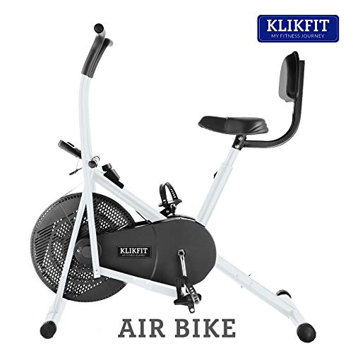 Klikfit KF02M Indoor Air Bike Exercise Cycle with Dual Moving Arms for Home Gym Cardio Full Body Weight Loss Workout with Back Support - Pre Installation
