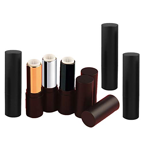 Lot de 6 tubes de rouge à lèvres vides rechargeables de 3,5 g avec couvercles pour le maquillage, le maquillage, les cosmétiques, la vie quotidienne, noir, argenté, doré