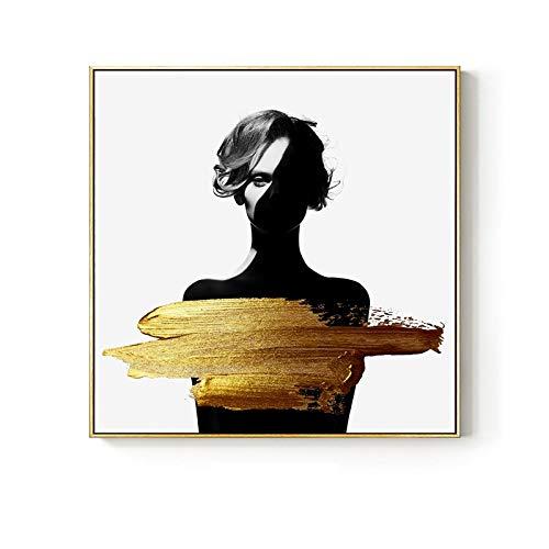 RHWXAX HD Fashion Art Figuras Lienzo Fotos Marcos de Pared Marcos de Oro Póster Sala de Estar Decorativa en la Pared Decoración de la casa 16x24in Sin Marco