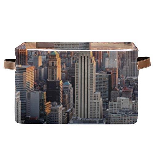 Rectangular Storage Boxes Decorative New York City Skyline Over River Storage Cube Bins With Strong Pu Leather Handle Waterproof Box Storage Cube Organizer For Office Bedroom Living Room Home Kids Cl