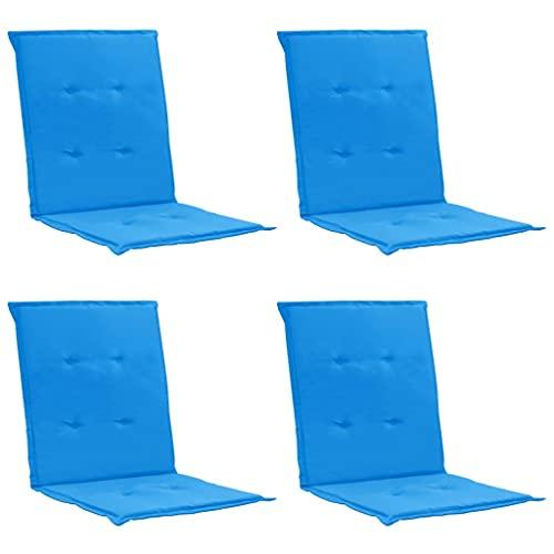 vidaXL 4X Cojines para Sillas Jardín Casa Hogar Sillones Asientos Salón Comedor Terraza Decoración Muebles Mobiliario Azul 100x50x3 cm