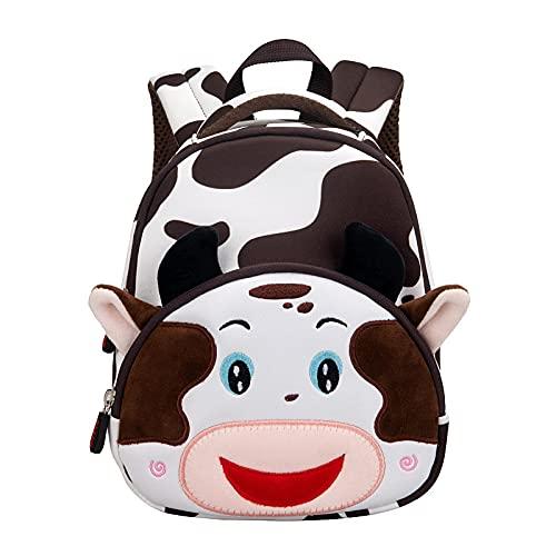 QINX Söt ko design barn småbarn skola väskor hög kvalitet vattentäta 3D-djur dagis barn flickor pojkar ryggsäckar stora