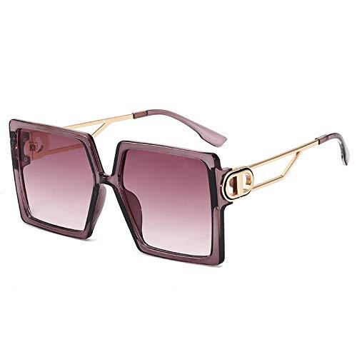 JINZUN Gafas de Sol de Moda Gafas de Sol de Tendencia Montura Grande Visera Solar Gafas Anti-UV Montura de té púrpura Unisex/Hoja de té púrpura