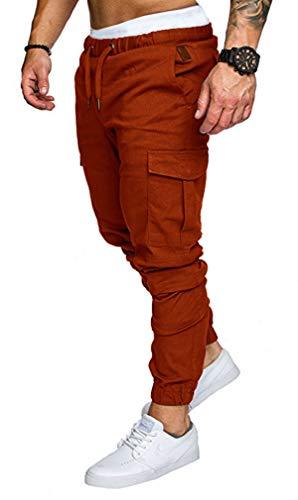Socluer Homme Pantalons Casual Jeans Sport Jogging Slim Fit Militaire Cargo Montagne Baggy Pants Multi Poches Grande Taille M-4XL(4XL,Brun Rouille)