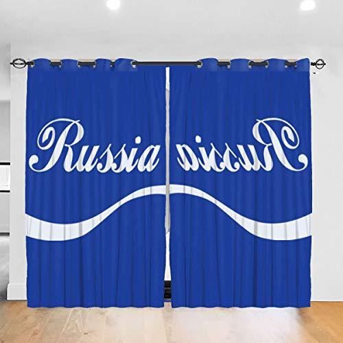 HONGYANW Hongyang Cortinas Opacas Personalizadas para Ventana Euro 2016 Fútbol Rusia Onda Azul con Ojales aislantes térmicos para recámara Salón 52 x 72 Pulgadas, 2 Paneles