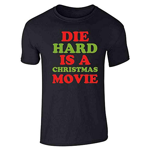 Pop Threads Die Hard is A Christmas Movie Funny Text Black L Graphic Tee T-Shirt for Men
