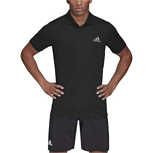 adidas Men's Club 3-Stripes Tennis Polo Shirt (Black/Matte Silver, Medium)