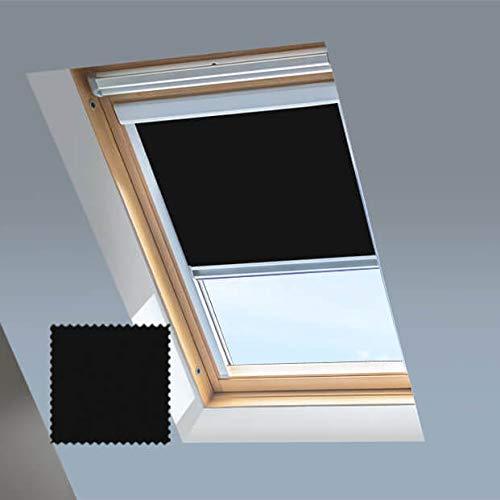 Persianas de tragaluz para ventanas de techo Dakea - Persiana opaca - Negro - Marco de aluminio plateado (M6A)