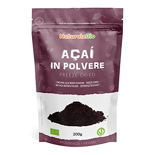 Bacche di Acai Biologiche in Polvere - Freeze-Dried - 200 gr. 100% Prodotto in Brasile, Liofilizzato, Crudo ed Estratto dalla Polpa della Bacca di Açai. NaturaleBio