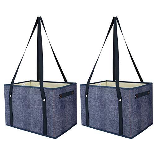 Nuovoware Faltbare Aufbewahrungsbox, Große Kapazität Lagerung Korb Aufbewahrung Box, Schrank Würfel mit Griffen und Schultergurt für Garten Zuhause Gemüse Spielzeug Kleidung Aufbewahren - Jeans Blau