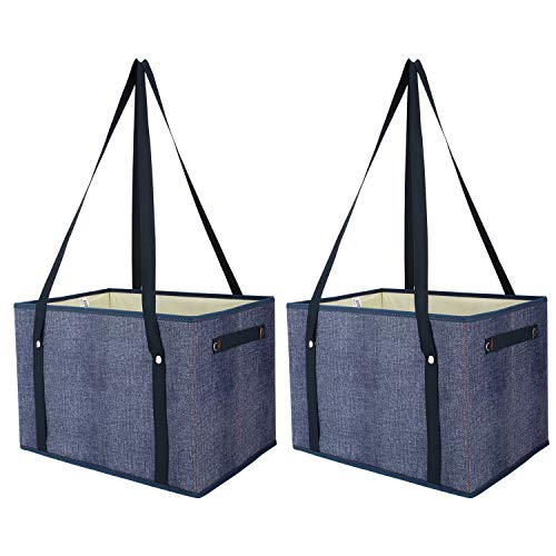 Nuovoware Reusable Grocery Shopping Bags, [2 Pack] Heavy Duty Tote Bags Shopping Boxes Storage Cubes Bins Camping Outdoor Picnic Bag with Shoulder Straps and Handles, Foldable, Durable - Cowboy