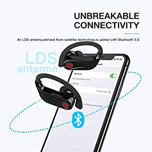 Amuoc Bluetooth Headphones - Wireless Earbuds with Mic HD Stereo Noise Cancelling Waterproof IPX7 for Sport Running Gym - Earphones Compatible (Over The Ear, Black)