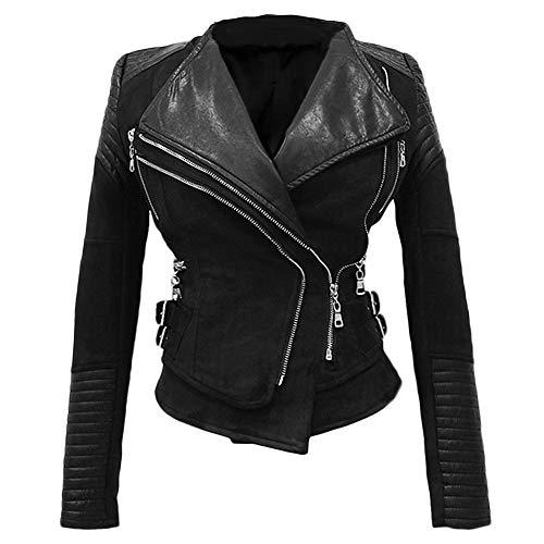 She'sModa Faux Suede Padded Shoulder Jacket for Women Slim Fit Winter Coat Moto Biker Jackets XL Black