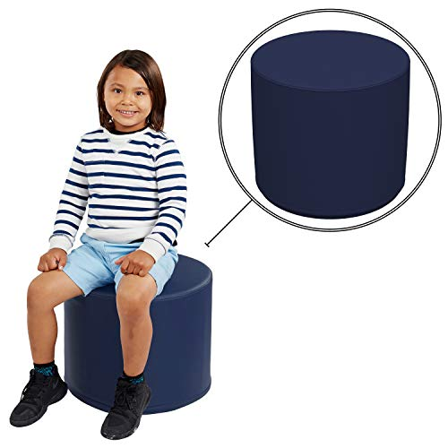 FDP SoftScape 18' Round Ottoman, Collaborative Flexible Seating for Kids, Teens, Adults Furniture for Classrooms, Libraries, Offices and Home, Standard 16' H - Navy
