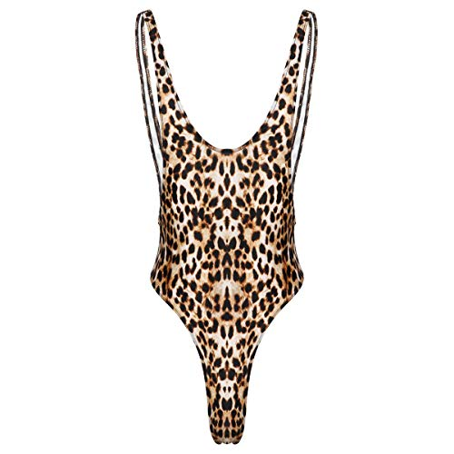 iiniim Herren Body Overall Rückenfrei Stringbody Leopard Einteiler Bodysuit Männer Unterhemd Tank Top Dessous Unterwäsche Braun M