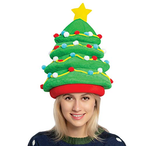 JOYIN Plush Christmas Tree Hat for Festive Party Dress Up Celebrations, Winter Party Favor, Christmas Decorations, Beanie Costume Accessories Green
