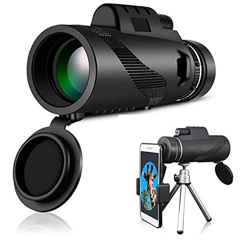 H&1 HD Telescopio Telescopio monocular, telescopio monocular de Alta Potencia Monoculares Impermeables con Clip para teléfono y trípode para teléfono Celular para OB