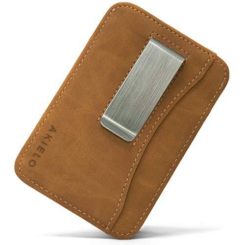 offerte black friday oggi AKIELO Porta Carte di Credito con Blocco RFID e Fermasoldi Uomo in Confezione Regalo - Portafoglio Uomo Slim - Porta Carte dal Design Minimalista (Collezione Charlie)