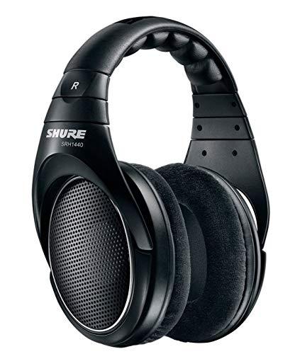 Shure SRH1440, offener Kopfhörer / Over-ear, schwarz, Premium, geräuschunterdrückend, austauschbares Kabel, Velourpolster, natürliche Wiedergabe, erweiterter Übertragungsbereich, linearer Frequenzgang, Gold, One Size