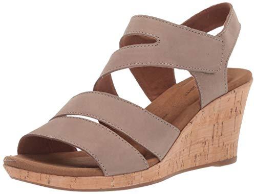Rockport Women's Briah Asym Wedge Sandal, Taupe Nubuck, 5.5 W US