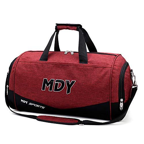 TFTREE, runde Reisetasche, weiche und leichte Handtasche Unisex-Boarding-Tasche Sportgymnastiktasche Umhängetasche mit großem Fassungsvermögen, reißfest, für Kurztrips geeignet-red